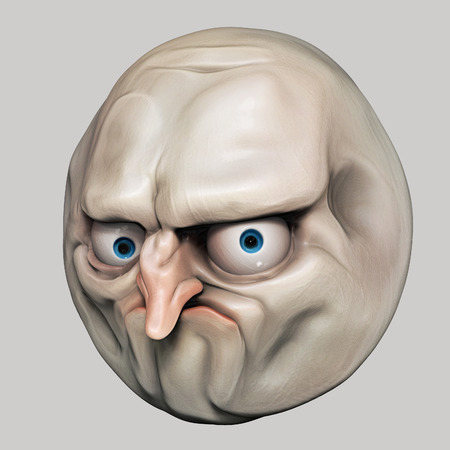 Internet meme No. Rage face 3d illustration Stock Photo