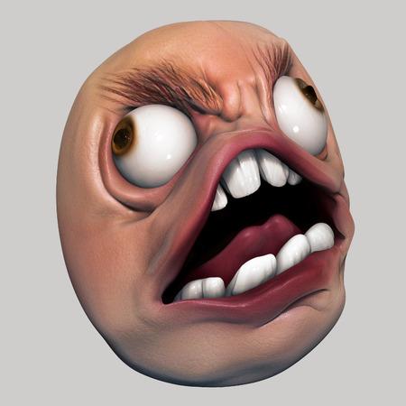 Angry internet meme troll head 3d illustration isolated