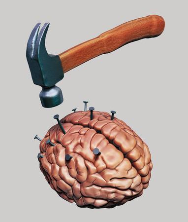 bother: Hammer drives nails into human brain Stock Photo
