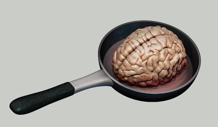 Human brain on hot pan illustration Stock Photo