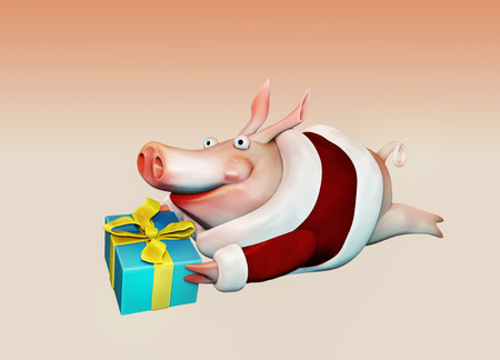 New Year pig flies with gift in hands illustration