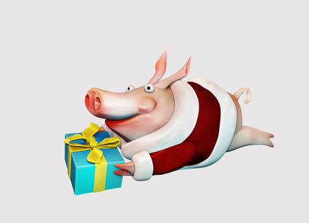 New Year pig flies with gift in hands illustration isolated