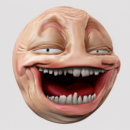 laughing internet troll head 3d illustration isolated Stock Illustration - 44133000