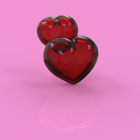 Valentine glass hearts 3d generated background