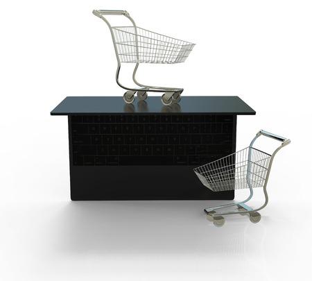 Online shopping. electronic commerce 3d illustration isolated on white