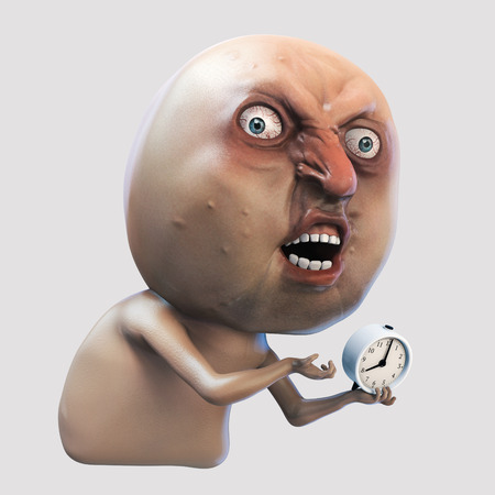 Internet meme Why You No wake me up. Rage face 3d illustration isolated Stock Photo