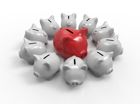 croud: Piggy bank croud. Choice of financial strategy concept. 3D rendering Stock Photo
