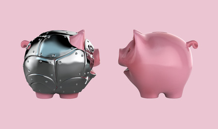 Metal armoured toy piggy bank 3d illustration Stock Photo
