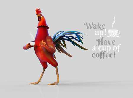 Rooster with cup of coffee 3D illustration