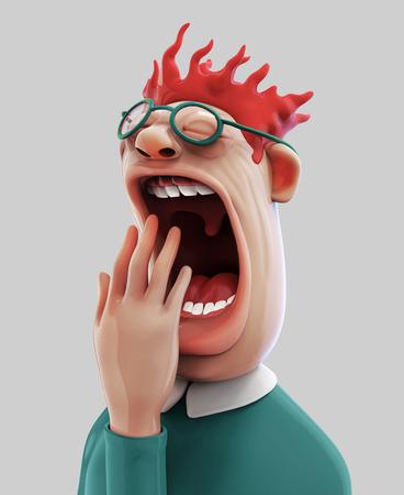 Tired yawning man 3D illustration Stock Photo