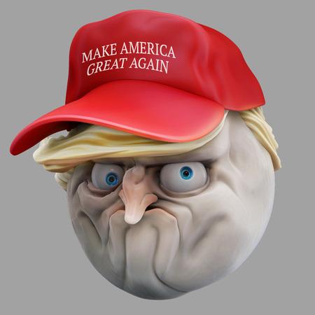 indignation: Internet meme No in red hat. Rage face 3d illustration