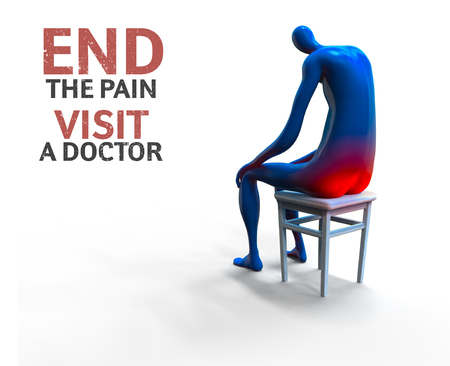 painfully: Hemorrhoid. Man painfully sitting on a chair. 3D illustration
