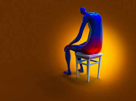 Hemorrhoid. Man painfully sitting on a chair. 3D illustration