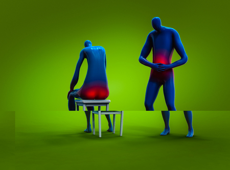 Abstract plastic man feeling stomachache and man having hemorrhoid 3d Illustration Stock Photo