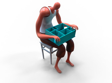 Cartoon man holding miniature of his new apartment on lap. 3D rendering