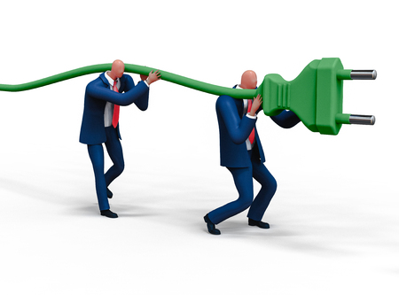 Two men plugging giant electric socket. Business concept illustration, 3D rendering