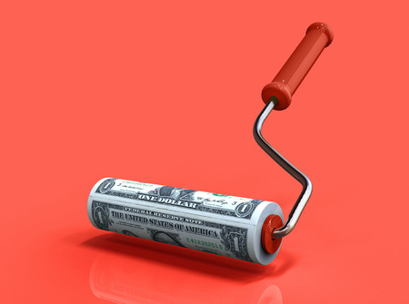 Roller brush draws american dollars. Business concept. 3d illustration