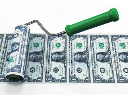 Roller brush draws american dollars. Business concept. 3d illustration