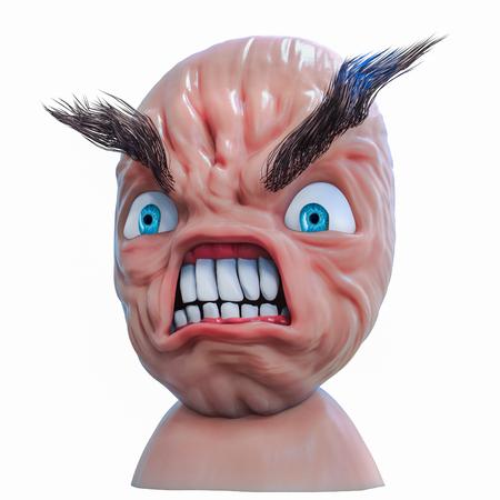 Internet meme Rage Anger face. 3d illustration isolated