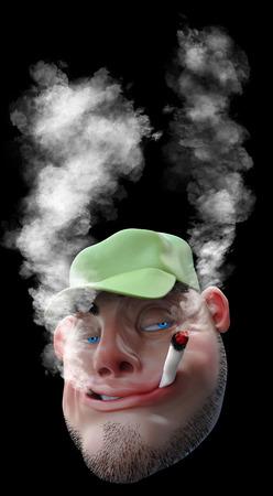 Cartoon man smoking weed joint. 3D illustration isolated on black
