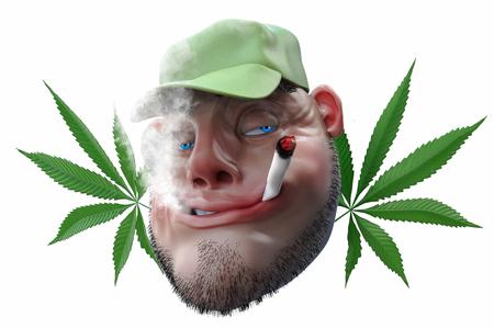 Cartoon man smoking weed joint. 3D illustration isolated on white Stock Photo