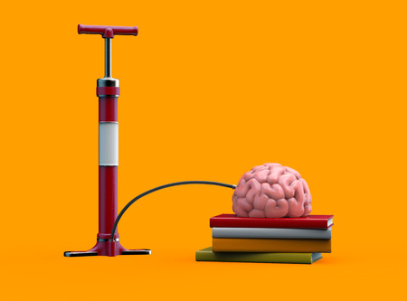 Pumping brain balloon. Education concept. 3D illustration on isolated background Stock Photo