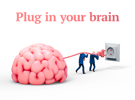 Two men plugging giant brain with electric socket. Business and education concept illustration, 3D rendering