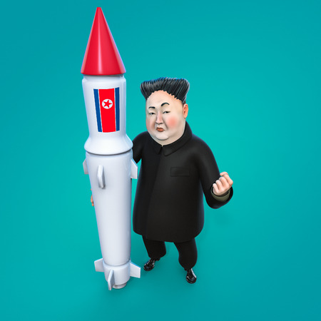 Pyongyang, APRIL 11, 2017: North Korea threatens to use nuclear weapons. Character portrait of Kim Jong Un. 3D illustration Editorial