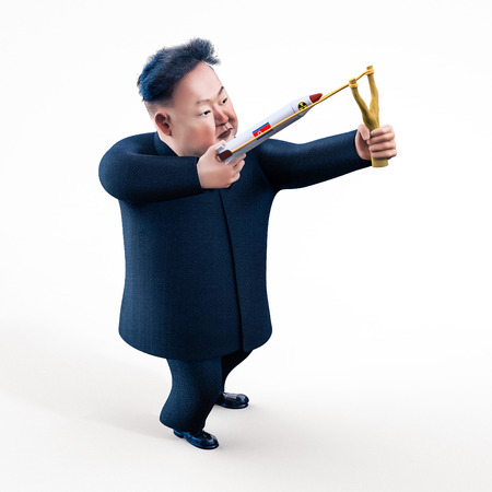 2017 년 4 월 11 일 평양 : 북한은 핵무기 사용을 위협하고있다. 김정은의 등장 인물. 3D 일러스트 레이션 에디토리얼