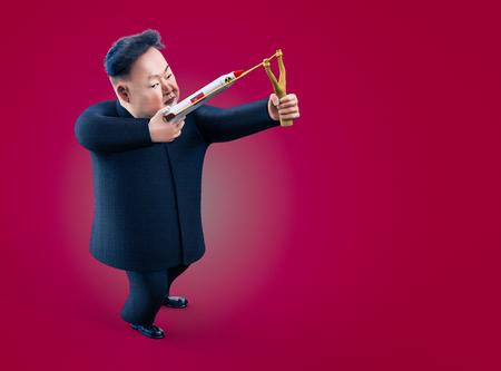 Pyongyang, 11 de Abril, 2017 Corea del Norte amenaza con usar armas nucleares. retrato del personaje de Kim Jong Un. ilustración 3D Foto de archivo - 76028553