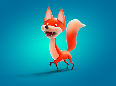 Walking red fox, cartoon character 3D illustration