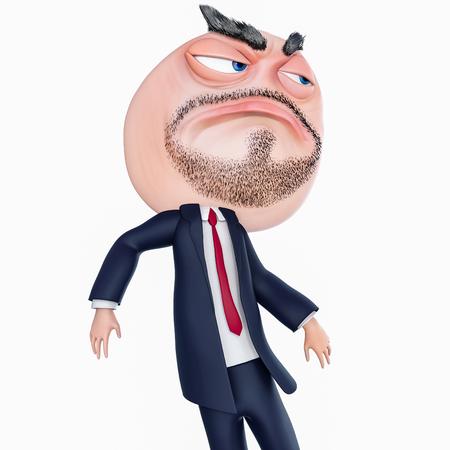 Internet meme Fuck Yea. Rage face 3d illustration isolated on white