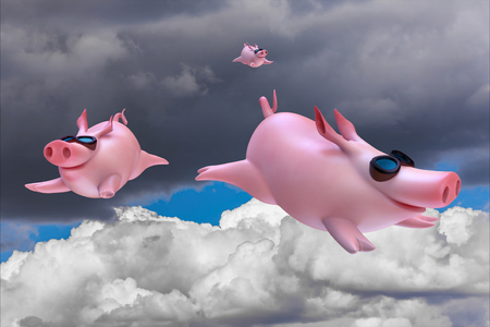 Funny sky diving flying piggies 3d illustration Фото со стока