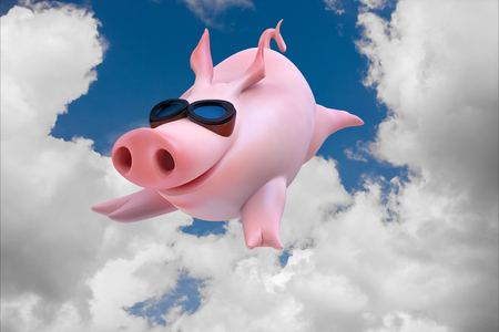 Funny sky diving flying piggies 3d illustration Foto de archivo