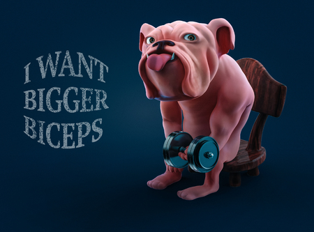 Muscular cartoon bulldog lifting dumbbell while sitting on chair 3d illustration Stock Photo