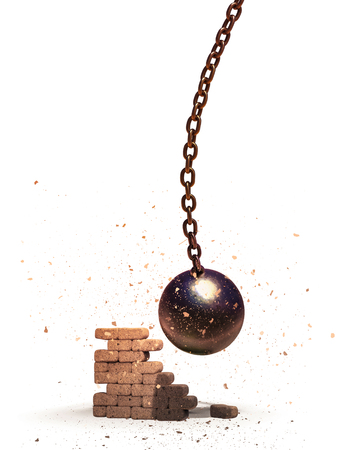 Wrecking ball destroying the brick wall 3D illustration isolated on white
