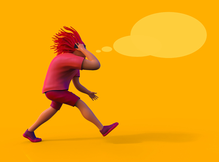 A man in shorts and a T-shirt is walking fast and talking on his mobile phone. 3D rendering Stock Photo