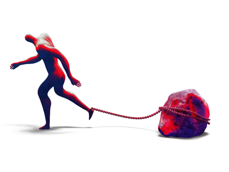 Desperate man walking with heavy rock chained to his foot. 3d illustration