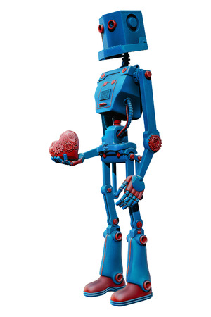 Blue robot holding mechanical heart in his hand 3d illustration