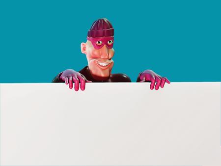 Masked burglar character holding a blank board. 3d illustration Stock Photo