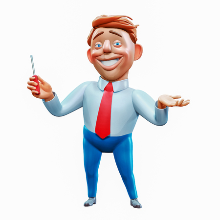 Happy office manager holding screwdriver fixed problem cartoon character 3d rendering Zdjęcie Seryjne