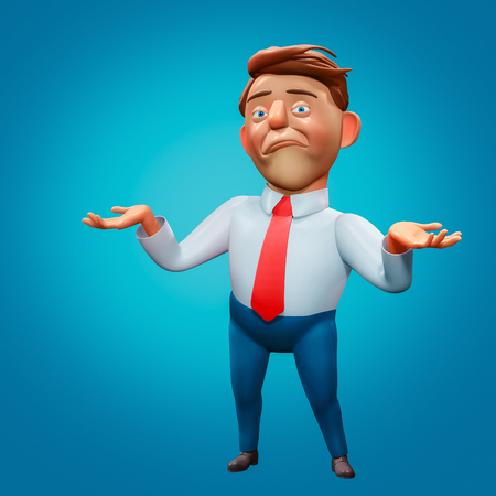 Office manager discouraged cartoon character 3d rendering