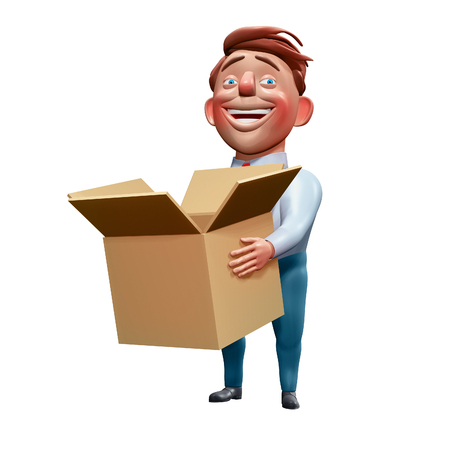 Happy office manager holding carton box cartoon character 3d rendering Zdjęcie Seryjne