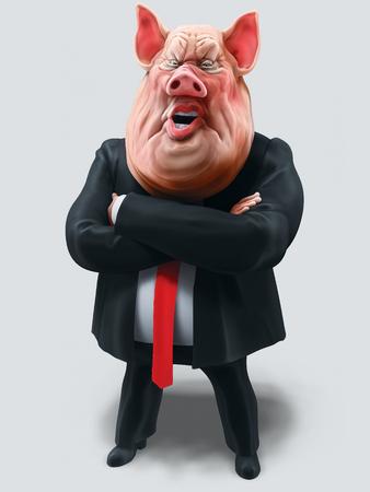 Pig boss talks with arms crossed. Animal farm. 3D illustration