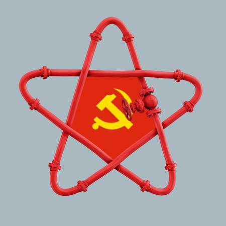 Gas pipe star shaped with valve 3D rendering Zdjęcie Seryjne