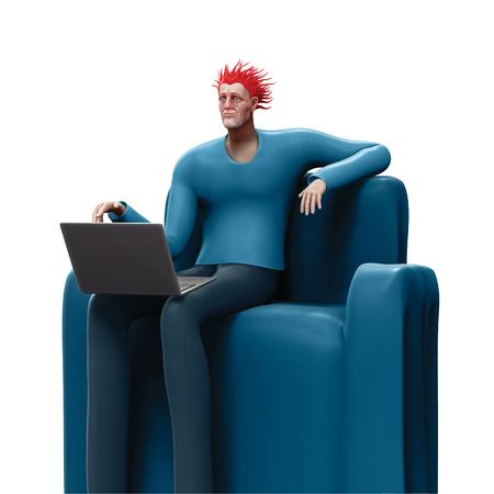 Cartoon man sitting on a sofa looking at the screen of his laptop 3D rendered illustration