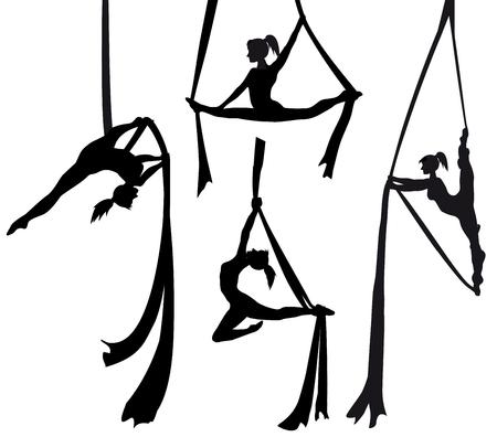 Ensemble de silhouette de danseuse en soie Vecteurs