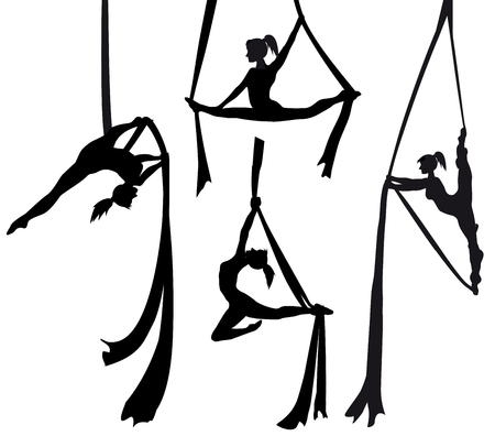 Silk Tänzerin Silhouette Set Vektorgrafik