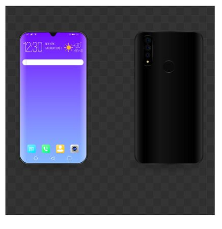 Realistic mock- up of a smartphone in two projections with the search bar, the search engine. decorated desktop. Vector graphics. EPS 10