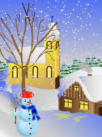 Snowman front of the church  Vector